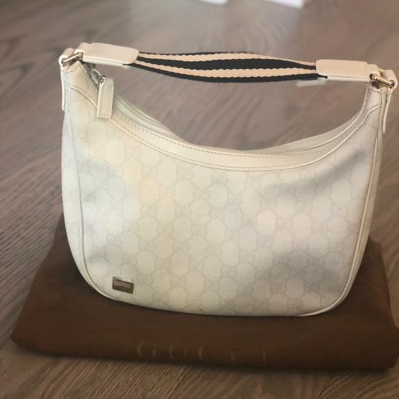 3c58e8c0b Gucci Bags | Gg Whitenavy Coated Canvas Shoulder Bag | Poshmark